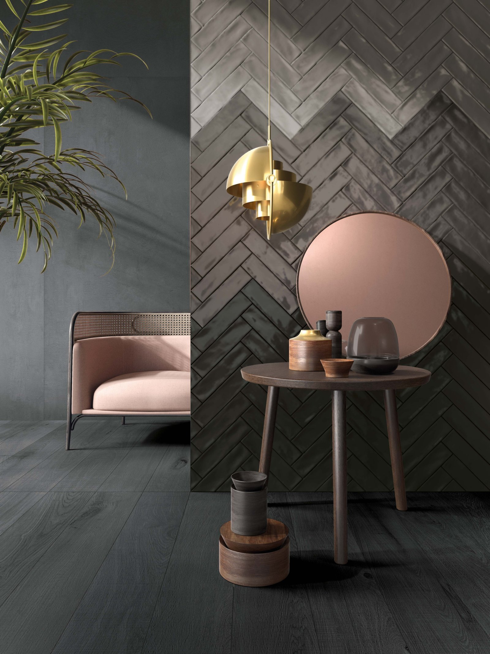 Herringbone pattern tile layout